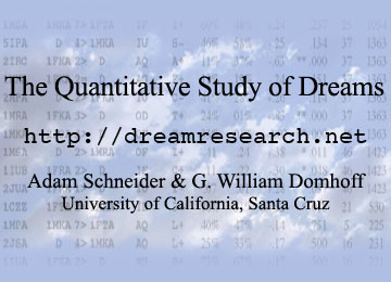 The Quantitative Study of Dreams: dreamresearch.net. By Adam Schneider & G. William Domhoff, University of California, Santa Cruz.